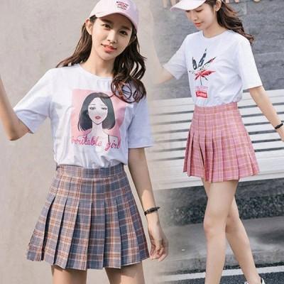 新品 ミニスカート フレアスカート プリーツ Aライン 制服スカート コスプレ ハイウエスト 大きいサイズ チェック柄 インナー 安全パンツ付き