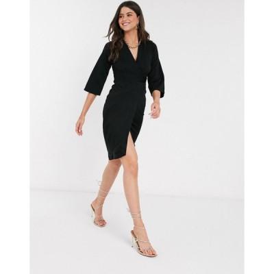 クローゼット ミディドレス レディース Closet panelled wrap dress in black エイソス ASOS ブラック 黒
