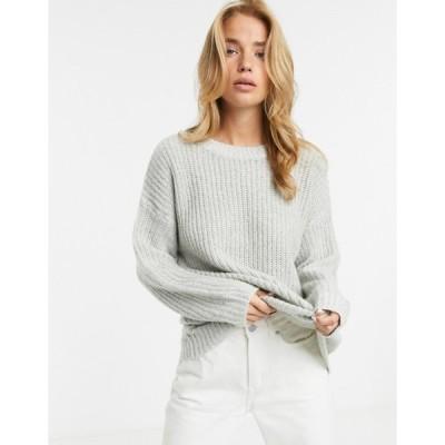 ニュールック レディース ニット・セーター アウター New Look long line sweater in gray