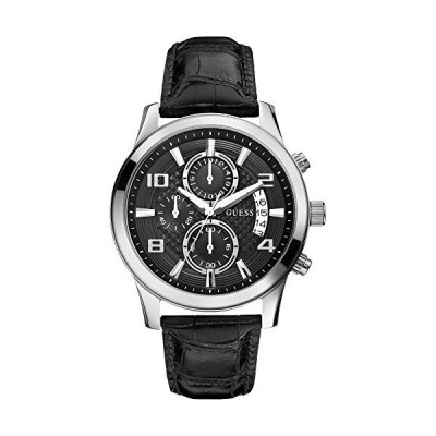 Guess Men's W0076G1 Stainless Steel Black Leather Strap Watch