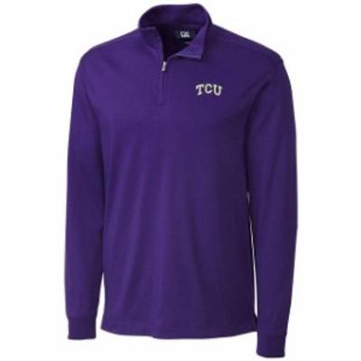 Cutter & Buck カッター アンド バック スポーツ用品  Cutter & Buck TCU Horned Frogs Purple Belfair Half-Zip Jacket