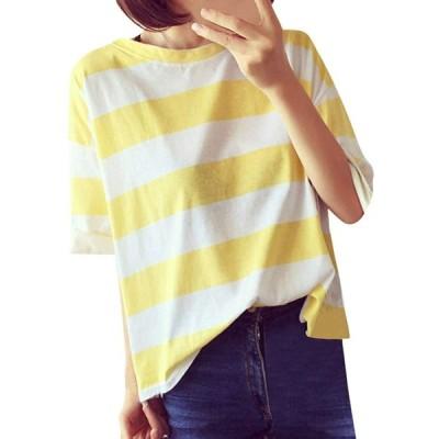 [Noldares][2XL/イエロー]ブラウス ナチュラル カットソー ゆったり 上着 春秋冬 通学 通勤 部屋着 tシャツ レディース トップス