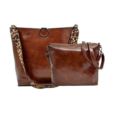Ladies Women 2Pcs Leopard Print Shoulder Crossbody Bag Set PU Leather Multipurpose Satchel Totes Hobo Handbag Purse Brown【並行輸入品