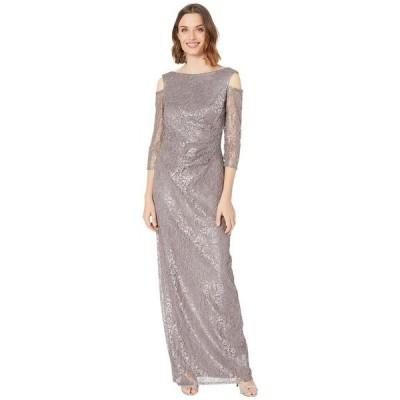 マリナ レディース ワンピース トップス Long Lace Dress w/ Cold-Shoulder