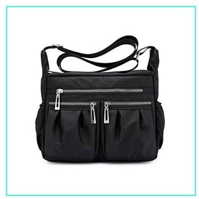 【新品】NOTAG Nylon Crossbody purse for Women Medium Messenger Bags Travel Shoulder Purses and Handbags (Black)(並行輸入品)