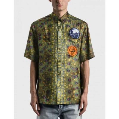 バーバリー Burberry メンズ シャツ トップス graphic applique fish-scale print shirt Olive