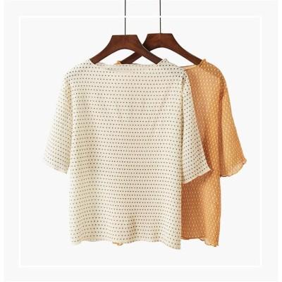 2019年秋新作💕韓国ファッション オフショルダー ドット柄 トップ レディース 新品 半袖 シフォンシャツ