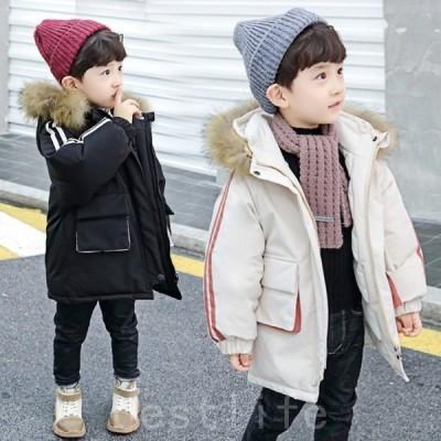男の子コートロング丈ジャケット子供用ファッションフード付き外す不可アウター子供服コート冬用アウター保温暖かい