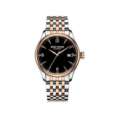 (新品) Reef Tiger Two Tone Dress Watches for Men Rose Gold Mechanical Wirstwatches with Date RGA823G (RGA823G-PBT)