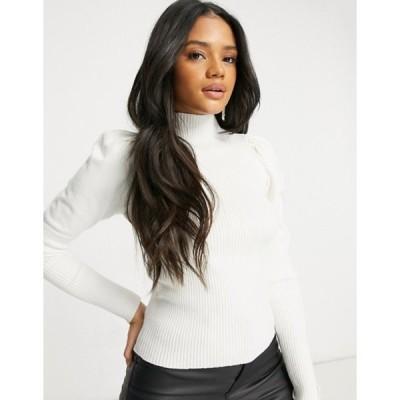 パラレルライン図 レディース ニット・セーター アウター Parallel Lines knit sweater with puff sleeves in white