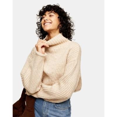 トップショップ レディース ニット・セーター アウター Topshop crop funnel neck knit sweater in taupe