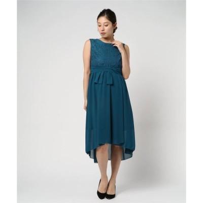 ドレス フラワーコードレースセミロングドレス