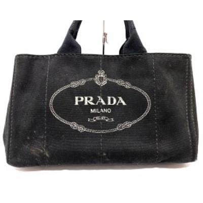 プラダ PRADA トートバッグ レディース CANAPA 黒×白 キャンバス【中古】20200426