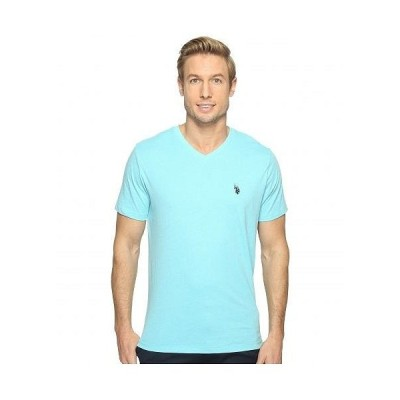 U.S. POLO ASSN. USポロ メンズ 男性用 ファッション Tシャツ Short Sleeve Solid V-Neck T-Shirt - Artist Aqua Heather