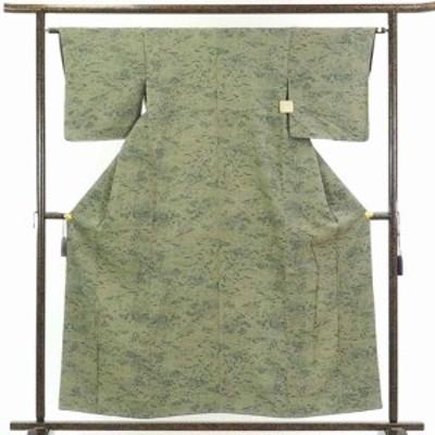 【中古】リサイクル着物 小紋 / 正絹茶グリーン地花柄袷小紋着物未使用品 / レディース【裄Sサイズ】