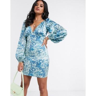 ガールコード ミニドレス レディース The Girlcode satin volume sleeve printed mini dress in blue エイソス ASOS マルチカラー