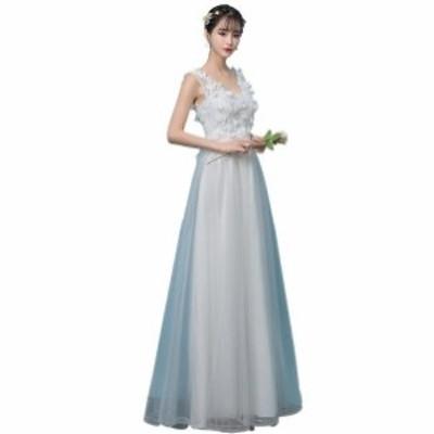 ウエディングドレス お花嫁ドレス ロングドレス 二次会ドレス レース 刺繍 パーティードレス  ナイトドレス ワンピース 演奏会