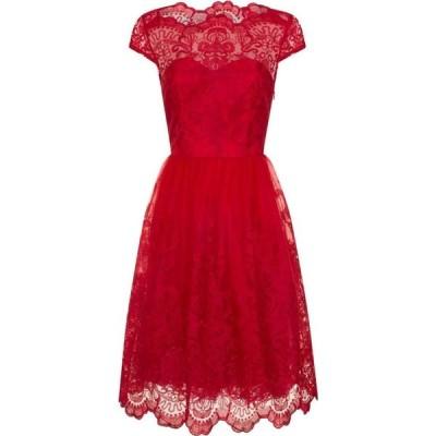 チチ Chi Chi レディース パーティードレス ワンピース・ドレス Metallic Lace Tea Dress Red