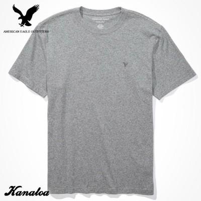 アメリカンイーグル Tシャツ 半袖 メンズ 無地 クルーネック グレー 大きいサイズ