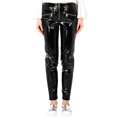 TOMMY HILFIGER x GIGI HADID パンツ ブラック 2 牛革 100% / ポリウレタン パンツ