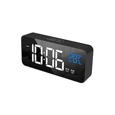HAPPYSALON Led Digital Mirror Alarm Clock, Adjustable Volume, Dimmable Disp