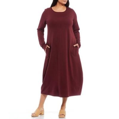 ブライン ウォーカー レディース ワンピース トップス Plus Size Phlippa Ponte Long Sleeve Scoop Neck Midi Dress with Side Seam Pockets