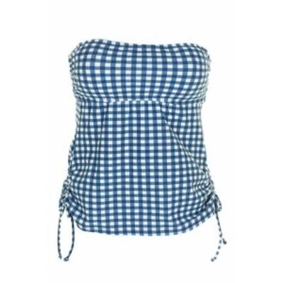 スポーツ用品 スイミング Hula Honey Juniors Blue White Picnic Gingham Printed Bandeau Tankini Top XS