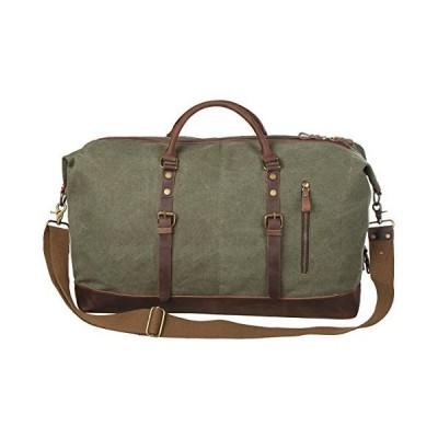 S-ZONE Oversized Canvas Genuine Leather Trim Travel Tote Duffel Shoulder Weekend Bag Weekender Overnight Carryon Hand Bag【並行輸入品