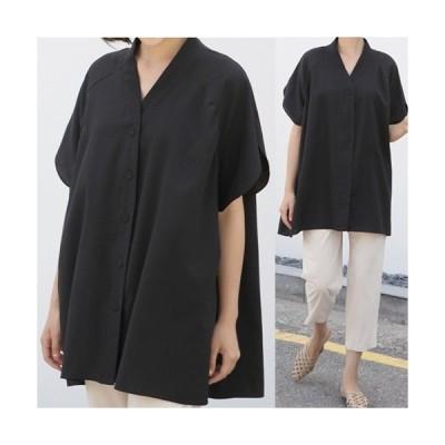 ブラウス レディース 大人 40代 50代 60代 ファッション 女性 上品 黒 ベージュ Vネック 無地 半袖 きれいめ 春夏 ミセス