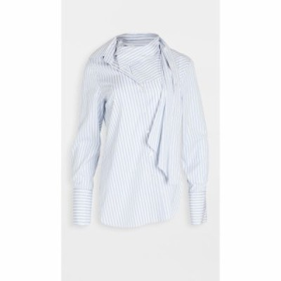 モンス Monse レディース ブラウス・シャツ トップス Stripe Poplin Twisted Scarf Shirt Sky/White