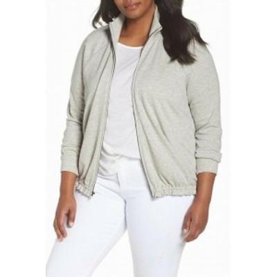 ファッション 衣類 Caslon Womens 777ub o Gray Size 1X Plus Mock Neck Track Jacket