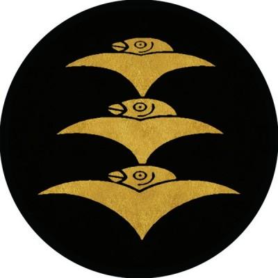 家紋シール 三つ重ね雁金紋 直径4cm 丸型 4枚セット KS44M-1421