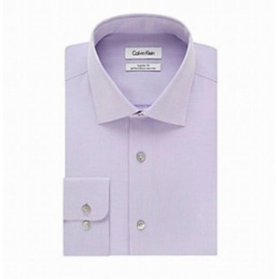 Calvin Klein カルバンクライン ファッション ドレス Calvin Klein NEW Purple Mens 16 1/2 Regualr Fit Performance Dress Shirt
