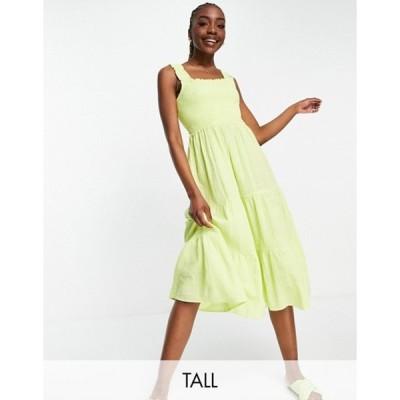 ニュールック レディース ワンピース トップス New Look Tall shirred strap two tiered midi dress in yellow