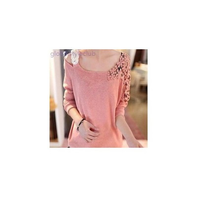 Tシャツ 柔らかい ニット レース 無地 キュート 上品 ガーリー レディース 女性 ブルー ピンク