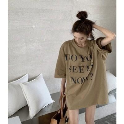 英字 オーバーサイズ Tシャツ お洒落 半袖 かわいい カジュアル 大人 春 夏     TS-0078