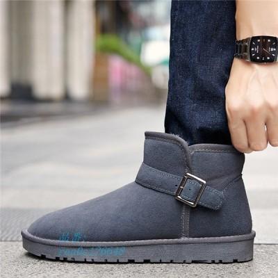 ムートンブーツ メンズ 靴 ショートブーツ カジュアルシューズ シューズ ハイカット 防寒 ブーツ 裏ボア くつ 内ボア スノーブーツ ファー 男性