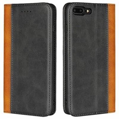 Zouzt iPhone 7 Plus /8 Plus 手帳型ケースカバー カード収納 マグネット スタンド 4色 ブラック+イエロー