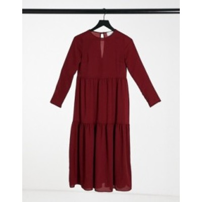 エイソス レディース ワンピース トップス ASOS DESIGN long sleeve tiered smock midi dress in oxblood Oxblood