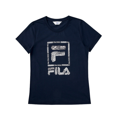 FILA 女圓領T恤-丈青 5TEV-1521-NV