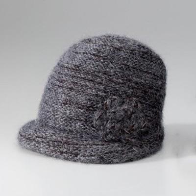 K12607-3 洗えるニット帽子 モチーフ付き ダークグレー K126073