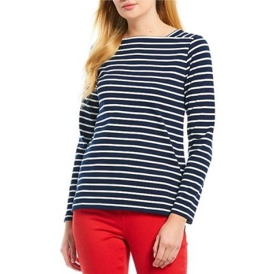 ジュールズ レディース Tシャツ トップス Matilde Square Neck Long Sleeve Nautical Stripe Knit Cotton Top
