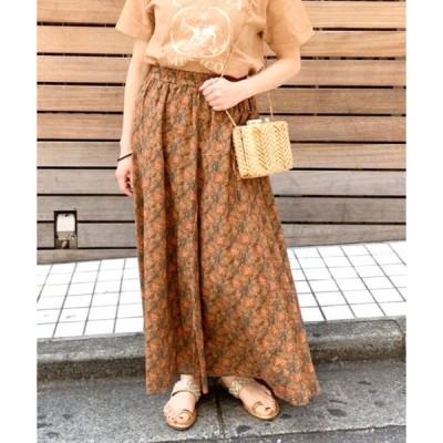 スカート ペイズリーマキシギャザースカート