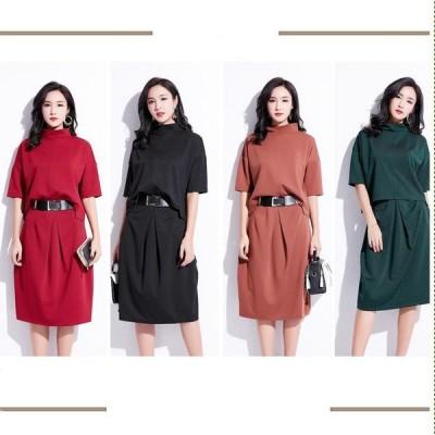 選べる全4色 スカートツーピース オーバーサイズ セットアップ 上品 ミディ丈 ツーピースドレス トップス スカート 5分袖