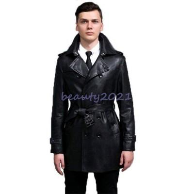 新作 トレンチコート 欧米風 カジュアル ビジネス ベルト付 PU 合成皮革 長袖 大きいサイズ BITTER系 ビター系 メンズ アウター メンズファッション