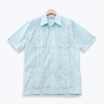 ROMANI ロマーニ 半袖キューバシャツ ライトブルー/ホワイト Sサイズ s190624-7