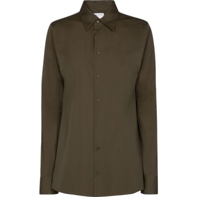 ボッテガ ヴェネタ Bottega Veneta レディース ブラウス・シャツ トップス Stretch-cotton poplin shirt Olive