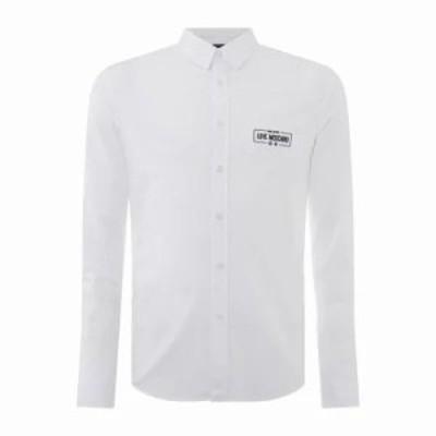 モスキーノ シャツ Poplin Logo Shirt white