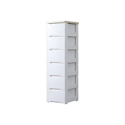 アイリスオーヤマ チェスト ラクラク引出し 木天板 6段 幅32.4×奥行41×高さ119cm ホワイト / ナチュラル 白 プラスチック HG-32