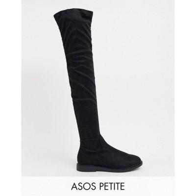 エイソス レディース ブーツ・レインブーツ シューズ ASOS DESIGN Petite Kennedy flat over the knee boots in black